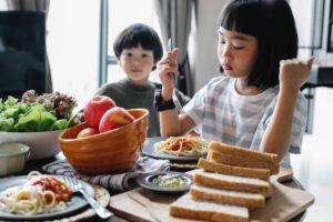Children eating healthy food